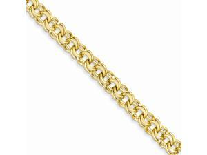 14k Yellow Gold 8in 8in 7.5mm Solid Double Link Charm Bracelet