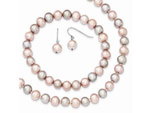 Sterling SIlver 7-8mm Pink/Grey Freshwater Cultured Pearl Potato Pearl 3pc Necklace/Bracelet/Earring Set