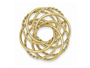 14k Yellow Gold Hollow Swirled Designer Pin