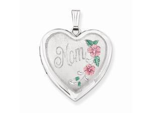 Sterling Silver 24mm Enameled Floral Mom Family Heart Locket