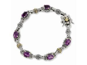 Sterling Silver w/ 14k Yellow Gold-Plated 4.57 Amethyst 7.25in Vintage Style Bracelet