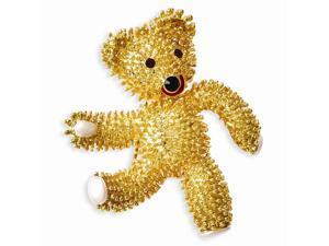 24k Gold-Plated Kennedy Teddy Bear w/ Swarovski Crystals Brooch