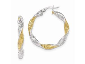 14K White Gold w #47;Yellow Rhodium Plated Textured Twisted Hoop Earrings  #40;1.4IN Long #41;
