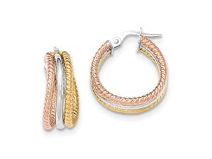 14K Three Tone Gold Polished/Textured Post Hoop Earrings (0.9IN Long)