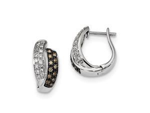 Sterling Silver W/ Rhodium-plated Champagne Diamond Hoop Earrings (0.6IN Long)