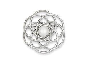 14K White Gold Freshwater Cultured Pearl Swirl Pin