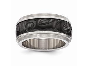 Edward Mirell Titanium & Black Titanium Inlay Polished Fancy Design Ring