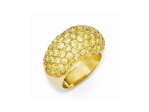 Cheryl M Sterling Silver 14k Gold-plated Yellow Synthetic CZ Ring