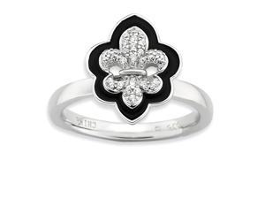 Sterling Silver W #47; Rhodium-plated Stackable Expressions Polished Enameled Diamond Synthetic CZ F
