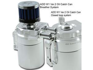 ADD W1 Polish Silver Baffled Universal Aluminum Oil Catch Tank Can Reservoir Tank Ver.2
