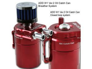 ADD W1 Red Baffled Universal Aluminum Oil Catch Tank Can Reservoir Tank Ver.2
