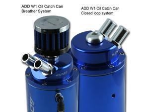 ADD W1 UNIVERSAL OIL CATCH TANK CAN + breather 9mm + 15mm fitting Blue