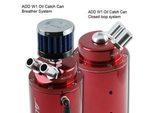 ADD W1 UNIVERSAL OIL CATCH TANK CAN + breather 9mm + 15mm fitting Red