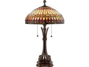 Quoizel 2 Light West End Tiffany Table Lamp Brushed Bullion - TF6660BB