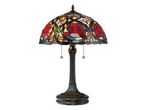 Quoizel 2 Light Larissa Tiffany Table Lamp in Vintage Bronze - TF879T