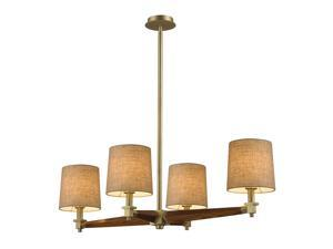Jorgenson 4 Light Chandelier In Mahogany And Satin Brass