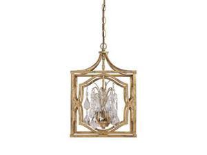 Capital Lighting Blakely 3 Light Foyer With Crystals, Antique Gold - 9481AG-CR