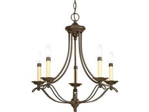 Progress Avalon 5-Light Chandelier Candle Sleeves in Antique Bronze - P4057-20