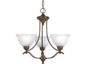Progress Avalon 3-Light Chandelier Alabaster Glass in Antique Bronze - P4067-20
