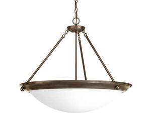 Progress Eclipse 4-Light Pendant. Satin White Glass in Antique Bronze P7323-20WB