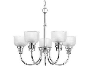 Progress Archie 5-Light Chandelier. Clear Prismatic Glass in Chrome - P4689-15