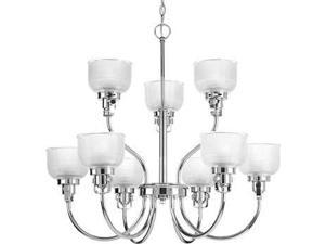 Progress Archie 9-Light Two-Tier Chandelier Clear Glass Chrome P4690-15