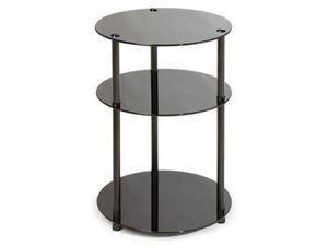 Convenience Concepts Midnight Classic Black Glass 3-Tier Round Table - 157007B