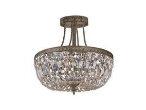 Crystorama Traditional Crystal Swarovski Spectra Semi Flush 119-12-EB-CL-SAQ
