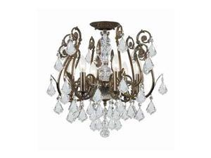 Crystorama Regis Clear Strass Crystal Wrought Iron Semi-Flush 5115-EB-CL-S