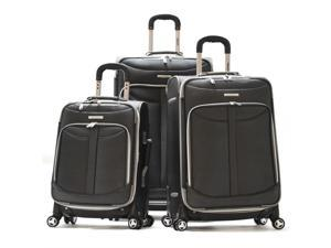 Olympia Tuscany 3 Piece Expandable Outdoor Travel Rolling Luggage Suitcase Set in Black
