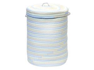 Colonial Mills Ticking Stripe Oval Hamper, Starlight Blue