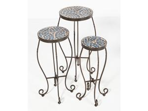 Alfresco Home Set of 3 Tremiti Mosaic Plant Stands, Charcoal - 28-9258
