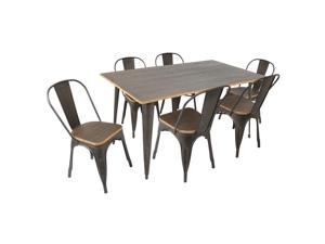 Lumisource Oregon 7 Pieces Dining Set In Espresso Wood And Antiqued Metal Frame