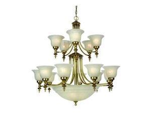 Dolan Richland 15+5 Light 2 Tier Bowl Chandelier Old Brass - 668-18