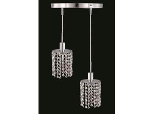 "Elegant 1282 RR Mini 2 Light 9"" Elegant Cut Pendant, Chrome - 1282D-R-R-CL-EC"