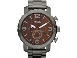 Fossil JR1355 Nate Chronograph Wood Dial Stainless Steel Mens Watch
