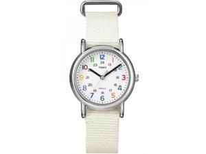 Timex Weekender Mid Size Slip Thru White Nylon Womens Watch T2N837