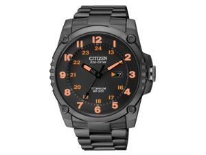 Citizen Eco Drive STX43 Black Orange Dial Titanium Mens Watch BJ8075-58F