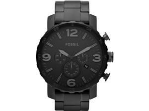 Fossil Nate Chronograph Black Stainless Steel Mens Watch JR1401