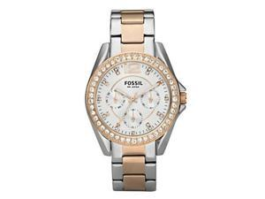 Fossil Riley Stainless Steel Silver And Rose Tone Womens Watch ES2787