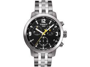 Tissot PRC 200 Chronograph Black Dial Yellow Accents Mens Watch T0554171105700