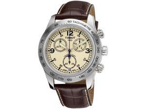 Tissot V8 Chronograph Ivory Dial Brown Leather Mens Watch T36131672