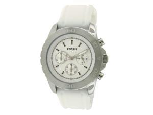 Fossil Chronograph Silver Dial White Rubber Mens Watch BQ1179