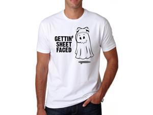 Getting Sheet Faced T Shirt Funny Halloween Drinking Shirt Ghost Tee L