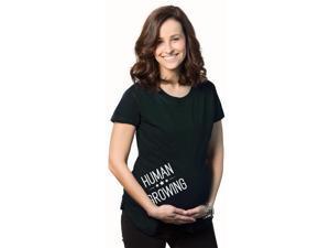 Women's Human Growing Maternity T Shirt Cute Baby Bump Funny Pregnancy Shirt S