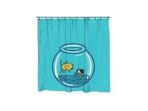Goldfish Fish Bowl Graphic Fish Shower Curtain-standard