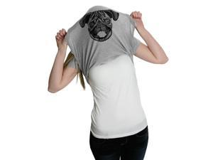 Womens Ask Me About My Pug Funny Dog Flip Up T shirt for Ladies -L