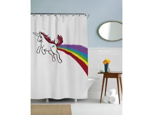 Rainbow Unicorn Funny Colorful Shower Curtain-standard