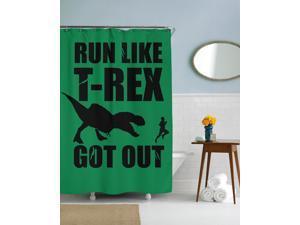 Run Like a T rex Got Out Dinosaur Shower Curtain-standard