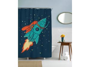Smiling Super Rocket Graphic Space Shower Curtain-standard